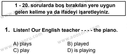 İngilizce 7 Dersi 2015 - 2016 Yılı 2. Dönem Sınavı 1. Soru