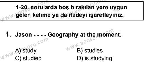 İngilizce 7 Dersi 2016 - 2017 Yılı 1. Dönem Sınavı 1. Soru
