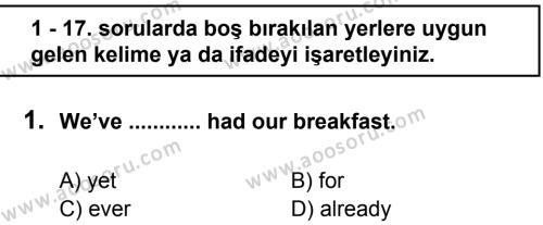 İngilizce 8 Dersi 2011 - 2012 Yılı 2. Dönem Sınavı 1. Soru