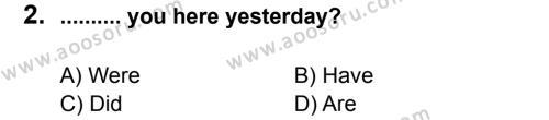 İngilizce 8 Dersi 2011 - 2012 Yılı 2. Dönem Sınavı 2. Soru