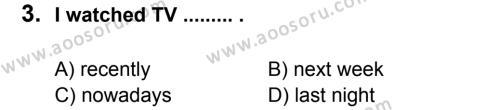 İngilizce 8 Dersi 2011 - 2012 Yılı 2. Dönem Sınavı 3. Soru