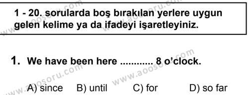 İngilizce 8 Dersi 2011 - 2012 Yılı 3. Dönem Sınavı 1. Soru