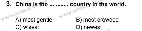 İngilizce 8 Dersi 2011 - 2012 Yılı 3. Dönem Sınavı 3. Soru