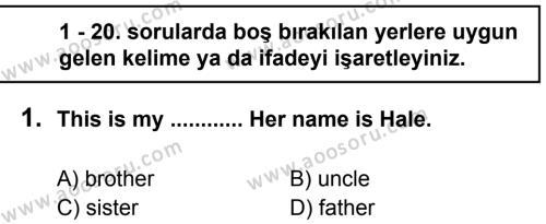 İngilizce 8 Dersi 2012 - 2013 Yılı 1. Dönem Sınavı 1. Soru
