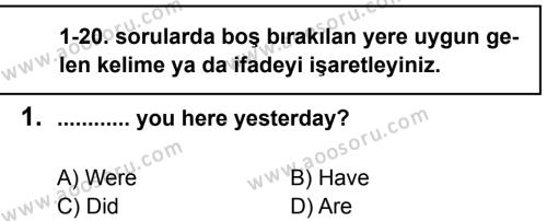 İngilizce 8 Dersi 2012 - 2013 Yılı 2. Dönem Sınavı 1. Soru