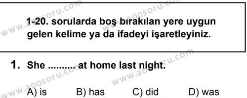İngilizce 8 Dersi 2013 - 2014 Yılı 1. Dönem Sınavı 1. Soru
