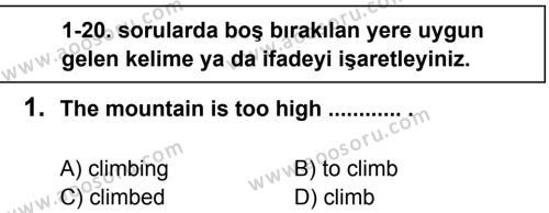 İngilizce 8 Dersi 2013 - 2014 Yılı 3. Dönem Sınavı 1. Soru