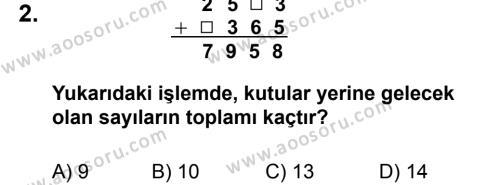 Matematik 5 Dersi 2012 - 2013 Yılı 1. Dönem Sınavı 2. Soru