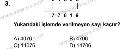 Matematik 5 Dersi 2012 - 2013 Yılı 1. Dönem Sınavı 3. Soru
