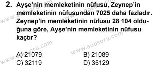 Matematik 5 Dersi 2012 - 2013 Yılı 3. Dönem Sınavı 2. Soru