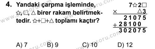 Matematik 5 Dersi 2012 - 2013 Yılı 3. Dönem Sınavı 4. Soru