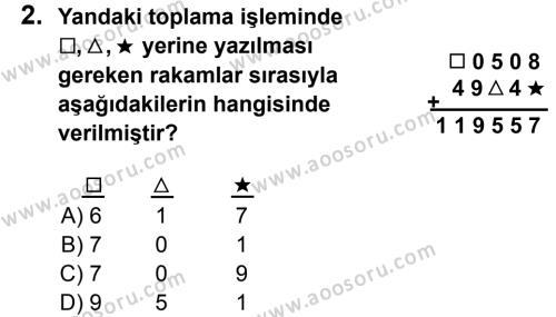 Matematik 5 Dersi 2013 - 2014 Yılı 1. Dönem Sınavı 2. Soru