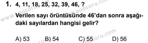 Matematik 5 Dersi 2013 - 2014 Yılı 2. Dönem Sınavı 1. Soru