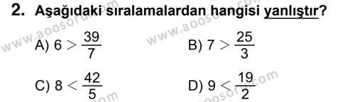 Matematik 5 Dersi 2018 - 2019 Yılı 1. Dönem Sınavı 2. Soru