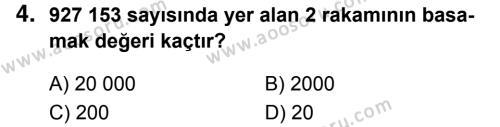 Matematik 5 Dersi 2018 - 2019 Yılı 1. Dönem Sınavı 4. Soru