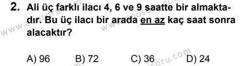 Matematik 6 Dersi 2011 - 2012 Yılı 2. Dönem Sınavı 2. Soru