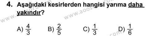 Matematik 6 Dersi 2011 - 2012 Yılı 2. Dönem Sınavı 4. Soru