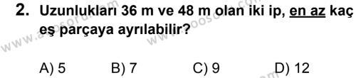 Matematik 6 Dersi 2011 - 2012 Yılı 3. Dönem Sınavı 2. Soru