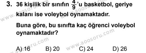 Matematik 6 Dersi 2011 - 2012 Yılı 3. Dönem Sınavı 3. Soru