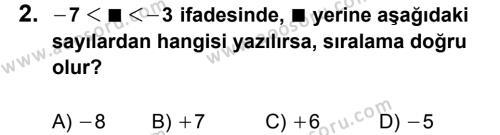 Matematik 6 Dersi 2012 - 2013 Yılı 1. Dönem Sınavı 2. Soru