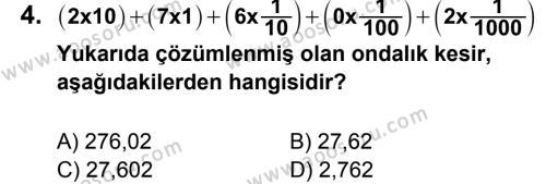Matematik 6 Dersi 2012 - 2013 Yılı 1. Dönem Sınavı 4. Soru
