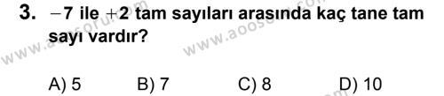 Matematik 6 Dersi 2012 - 2013 Yılı 2. Dönem Sınavı 3. Soru
