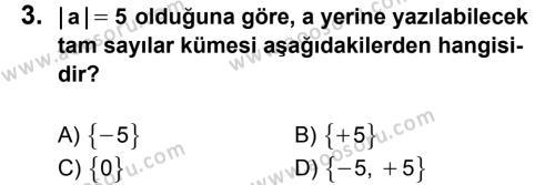 Matematik 6 Dersi 2012 - 2013 Yılı 3. Dönem Sınavı 3. Soru
