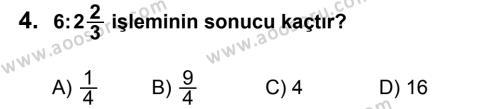 Matematik 6 Dersi 2012 - 2013 Yılı 3. Dönem Sınavı 4. Soru