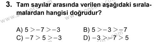 Matematik 6 Dersi 2013 - 2014 Yılı 1. Dönem Sınavı 3. Soru
