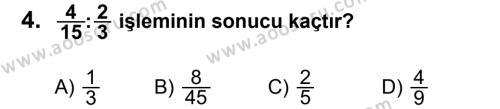 Matematik 6 Dersi 2013 - 2014 Yılı 1. Dönem Sınavı 4. Soru
