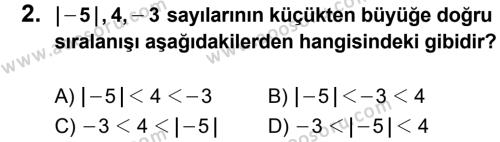 Matematik 6 Dersi 2013 - 2014 Yılı 2. Dönem Sınavı 2. Soru