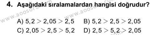 Matematik 6 Dersi 2013 - 2014 Yılı 2. Dönem Sınavı 4. Soru