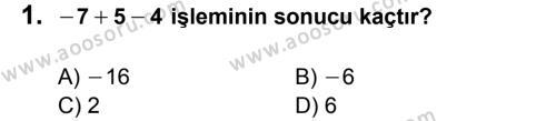 Matematik 6 Dersi 2014 - 2015 Yılı 1. Dönem Sınavı 1. Soru