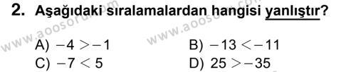 Matematik 6 Dersi 2016 - 2017 Yılı 1. Dönem Sınavı 2. Soru
