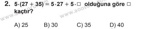 Matematik 6 Dersi 2018 - 2019 Yılı 2. Dönem Sınavı 2. Soru