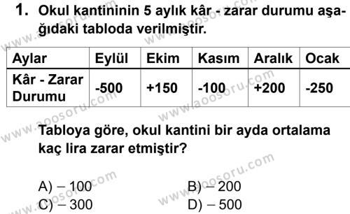 Matematik 7 Dersi 2011 - 2012 Yılı 2. Dönem Sınavı 1. Soru