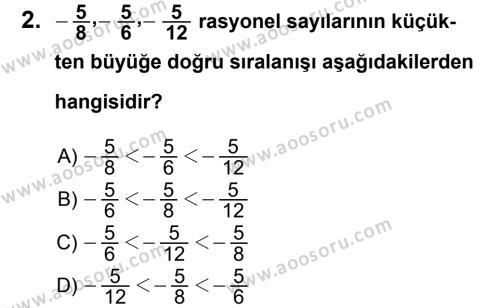 Matematik 7 Dersi 2011 - 2012 Yılı 2. Dönem Sınavı 2. Soru