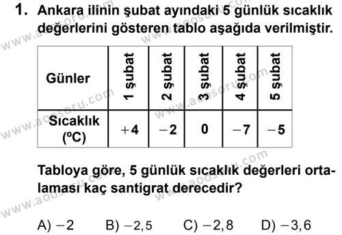 Matematik 7 Dersi 2011 - 2012 Yılı 3. Dönem Sınavı 1. Soru