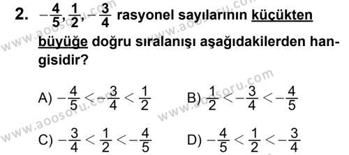 Matematik 7 Dersi 2011 - 2012 Yılı 3. Dönem Sınavı 2. Soru