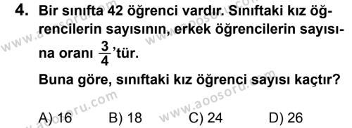 Matematik 7 Dersi 2011 - 2012 Yılı 3. Dönem Sınavı 4. Soru