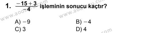 Matematik 7 Dersi 2012 - 2013 Yılı 1. Dönem Sınavı 1. Soru