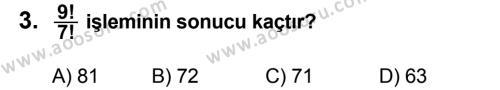 Matematik 7 Dersi 2012 - 2013 Yılı 1. Dönem Sınavı 3. Soru