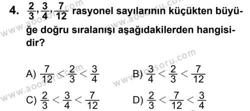 Matematik 7 Dersi 2012 - 2013 Yılı 1. Dönem Sınavı 4. Soru