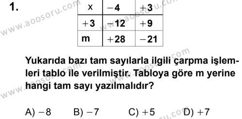Matematik 7 Dersi 2012 - 2013 Yılı 2. Dönem Sınavı 1. Soru