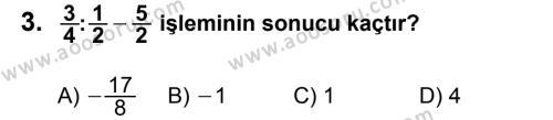 Matematik 7 Dersi 2012 - 2013 Yılı 2. Dönem Sınavı 3. Soru