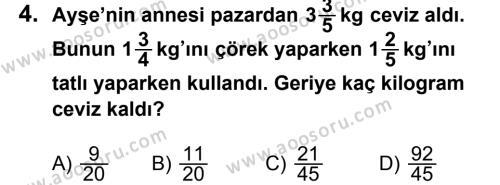 Matematik 7 Dersi 2012 - 2013 Yılı 2. Dönem Sınavı 4. Soru