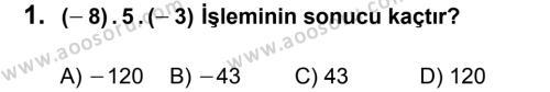 Matematik 7 Dersi 2013 - 2014 Yılı 1. Dönem Sınavı 1. Soru