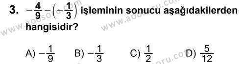 Matematik 7 Dersi 2013 - 2014 Yılı 1. Dönem Sınavı 3. Soru