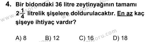 Matematik 7 Dersi 2013 - 2014 Yılı 1. Dönem Sınavı 4. Soru