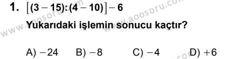 Matematik 7 Dersi 2013 - 2014 Yılı 2. Dönem Sınavı 1. Soru